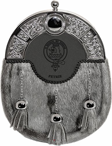 Petrie Dress Sporran 3 Tassels Studded Targe Celtic Arch Scottish Clan Name Crest