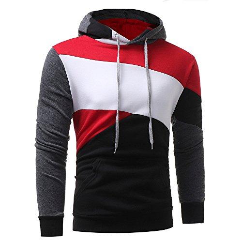 (Farjing Hoodie for Men,Clearance Sale Mens' Long Sleeve Patchwork Hoodie Hooded Sweatshirt Tops Jacket Coat (M,Black)
