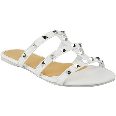 a8b6ca6aff178 Fashion Thirsty Sandales Spartiates Plates à Enfiler - à Brides Clous -  Femme - Faux