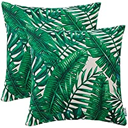 HWY 50 Soft Decorative Throw Pillow Covers Sets Cushion Cases for Couch Sofa Bed Living Room Thicken Cotton Linen Printed European Decor Tropical Banana Leaves 18 x 18 Inches Pack of 2