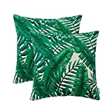 HWY 50 Leaves Decorative Throw Pillows Covers for Couch Sofa 18 by 18 inch, Set of 2 Thicken Cotton Linen Printed Decor Throw Pillows Cases for Bed, Tropical Banana Leaves Cushion Covers