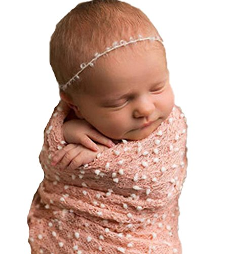 Baby Swaddle Blanket Grid SleepSack Unisex Photography Props Outfit (Pink)