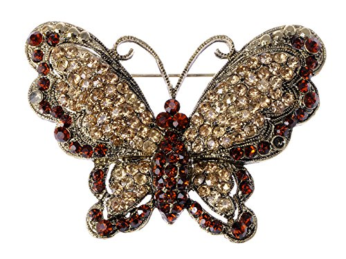 Alilang Antique Brass Tone Red Topaz Crystal Rhinestone Butterfly Bug Brooch Pin