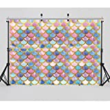 WOLADA 7x5ft Mermaid Scales Glare Photography Backdrops Party Princess Glitter Birthday Banner Photo Studio Booth Background Newborn Baby Shower Photocall 11089