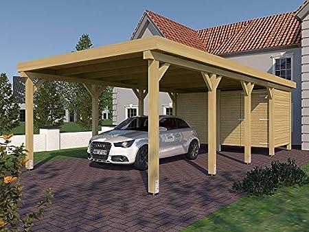 CarPort (tejado Plano) Valencia II 400 cm x 800 cm, con Dispositivo habitación: Amazon.es: Jardín