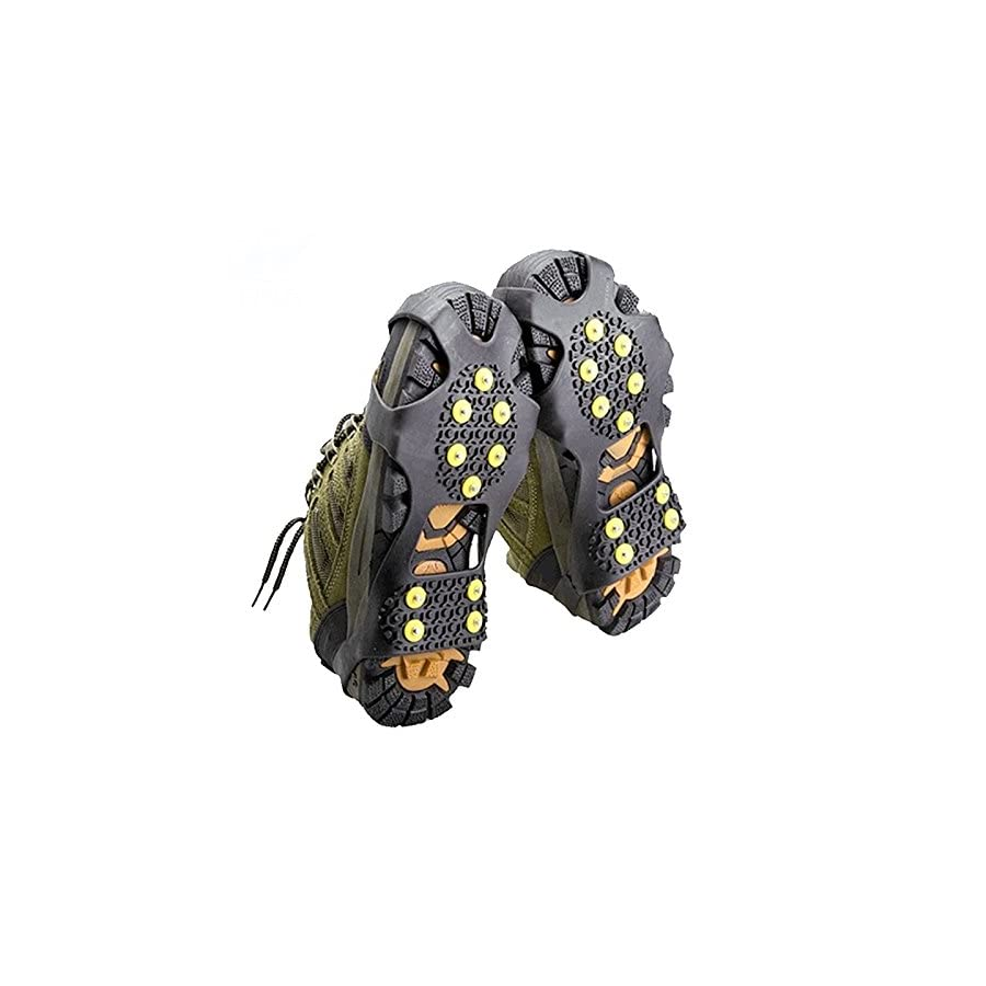 10 Teeth Claws Non slip Shoe Covers for Walking Jogging or Hiking on Snow and Ice Outdoor Crampons Nonslip Footwear Rubber Spikes Slip on Stretch Crampons Ice XL