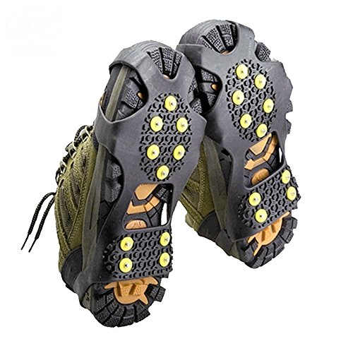 10 Teeth Claws Non-slip Shoe Covers for Walking Jogging or Hiking on Snow and Ice Outdoor Crampons Nonslip Footwear Rubber Spikes Slip-on Stretch Crampons Ice L