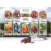 Tea Forté SINGLE STEEPS Herbal Retreat Loose Leaf Tea Sampler, Assorted Variety Tea Box, 15 Single Serve Pouches - Relaxation Tea