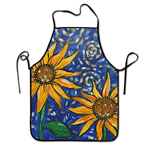 FEDDIY Fashion Design, Adult Chef Apron, Van Gogh Sunflowers Restaurant Durable Baking Bib Apron