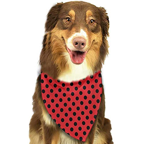 Pet Dog Scarf Red and Black Retro Vintage Pop Art Theme Old 58s 50s Rocker Inspired Bold Polka Dots Image W27.5 xL12 Scarf for Small and Medium Dogs and Cats -