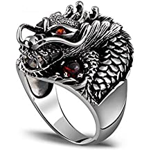 Jade Angel Jewelry Men's Thailand Sterling Silver Dragon Ring Vintage Jewelry