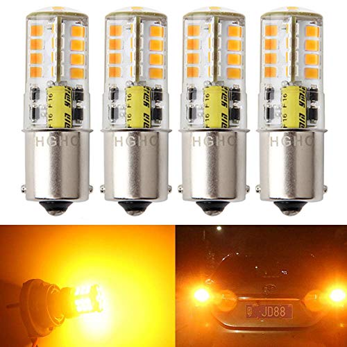Amber Bulb Replacement - BA15S 5W AC/DC12V Super Bright 1156 1141Single Contact Base LED Bulbs, 35W halogen bulb replacement, Amber Yellow Color, for Car Back Up Lights, Reverse Lights, Tail Lamp, Turn Signal Lights (4 Pack)
