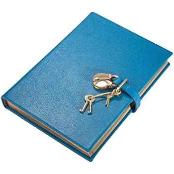 """Genuine Leather Pad-Lock Diary, Working Key and Lock, Turquoise, 8"""""""