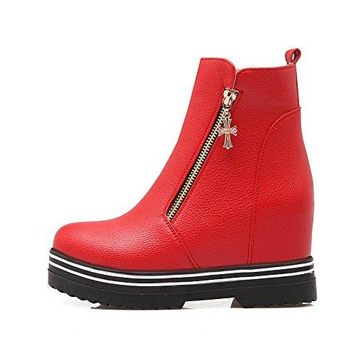 Scarpe Autunno abbigliamento HSXZ Nero Caviglia Stivali la Bootie Per in stivaletti Stivali moda Round donna Rosso Red Null Inverno similpelle da Flat Casual Toe Stivali dwxXqxCR4