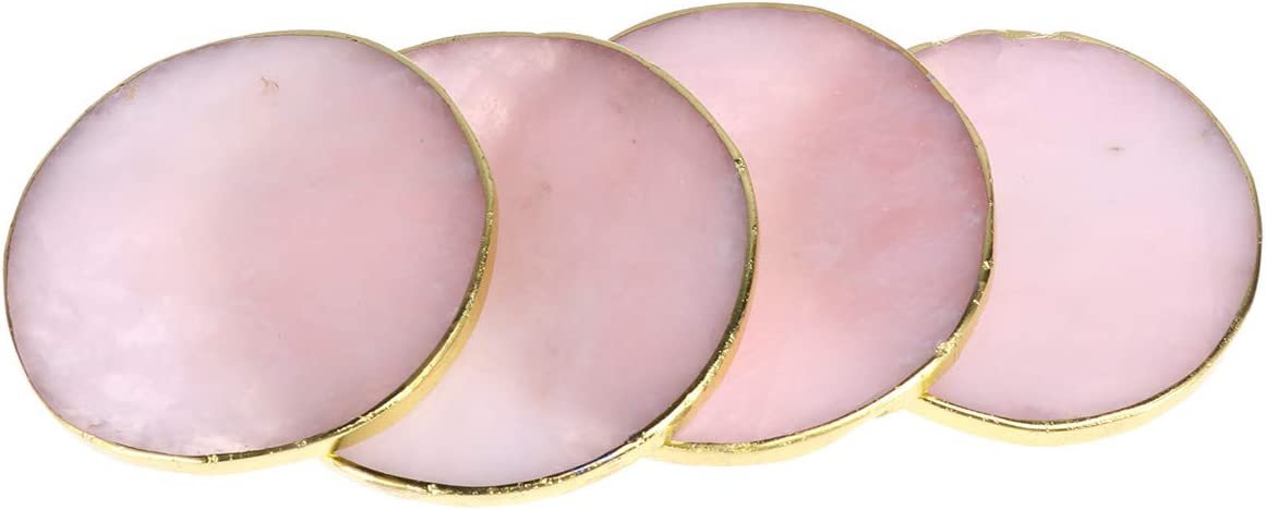 SUPVOX Set of 4 Modern Pink Agate Coasters with Gold Edges and Rubber Bumpers, Natural Gem Sliced Brazilian Agate Coasters for Drinks