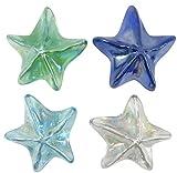 Chesapeake Bay 4 Glass Starfish Paperweights with Iridescent Finish, 3.5 Inch Diameter