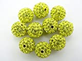 jennysun2010 Premium Quality Citrine Czech Crystal Rhinestones Pave Clay Round Disco Ball Spacer Loose 12mm Beads 100pcs per Bag for Bracelet Necklace Earrings Jewelry Making Crafts Design