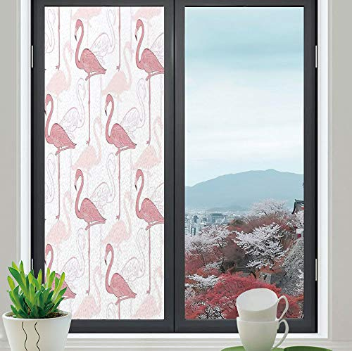 YOLIYANA Frosted Window Film Stained Glass Window Film,Flamingo,Work Well in The Bathroom,Standing Flamingos Pattern Holiday Jungle Hawaii Wildlife Illustration,24''x70''