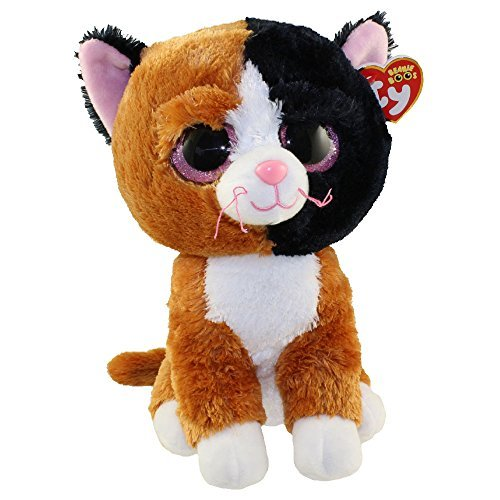 New Ty Beanie Boos Cute Buddy TAURI the Cat (Glitter Eyes) (Medium Size - 9 inch) TY Beanie Boos - Plush Toys 9'' 25cm Medium Ty Plush Animals Big Eyes Eyed Stuffed Animal Soft Toys for Kids Gifts by T&Y (Image #1)