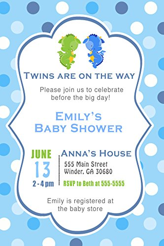 30 Invitations Dragon Twin Boys Birthday Baby Shower Personalized Cards Photo Paper