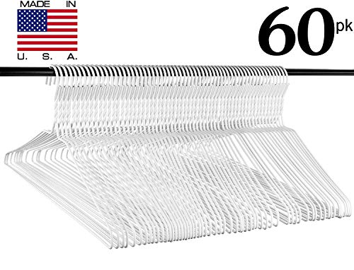 Neaties Heavy Duty White Wire Clothes Hangers, USA Made Vinyl Coated Hangers, Set of 60 -