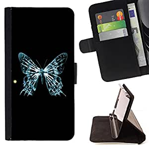 DEVIL CASE - FOR Samsung Galaxy S4 Mini i9190 - Blue Butterfly Skeleton Sun Art Cosmos - Style PU Leather Case Wallet Flip Stand Flap Closure Cover