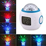 HOMREE Sky Star Night Lighting Lamp,Star Projector Rotation Light Projection Clock , Music Player With Backlight Led Nigh Light Thermometer Calendar for Children Kids Bedroom Christmas Gift