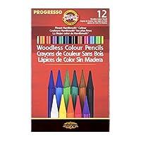 Koh-I-Noor Progresso Juego de 12 lápices de colores sin madera, lápices de colores surtidos (FA8756.12)