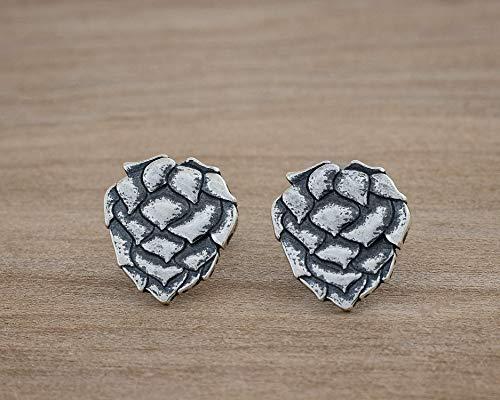 Sterling Silver Little Hop Flower Post Earrings - Beer Lover Gift
