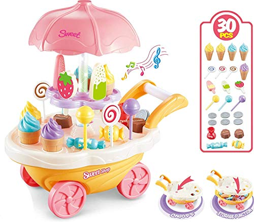 Let's Play Sweet Shopping Battery Operated Ice Cream Trolley Set for Kids with Rotating LED Lights and Music (Multicolor) -30 Piece (B08BZSW9BS) Amazon Price History, Amazon Price Tracker