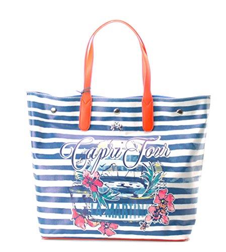 W1702 Strisce Capri Stampa Cerato LA Shopping Borsa MARTINA Cotone zwgZpB
