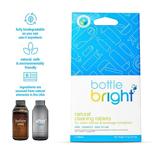 (Bottle Bright (12 Tablets) - All Natural, Biodegradable, Chlorine & Odor Free Water Bottle & Hydration Pack Cleaning Tablets)