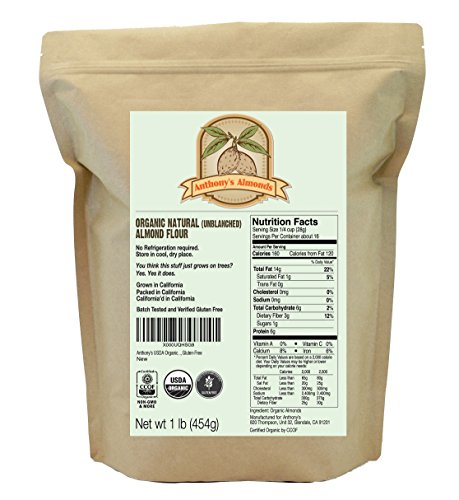 Organic Almond Flour (Unblanched - with skin) Anthony's 1 Pound (16 oz) Bag, Certified Gluten-Free