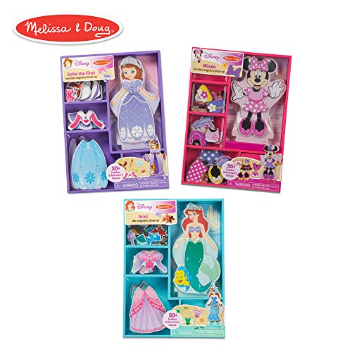Melissa & Doug Disney Minnie Mouse, Sofia, and Ariel Magnetic Dress-Up Wooden Dolls Pretend Play Set -