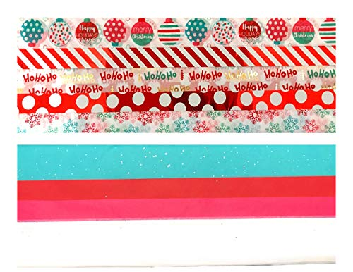 Christmas Holiday Gift Wrapping Tissue Paper – 150 Sheets – Festive Prints and Solids