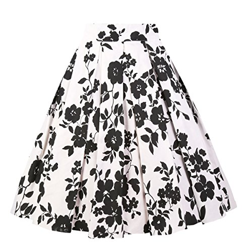 Girstunm Women's Pleated Vintage Skirt Floral Print A-line Midi Skirts with Pockets White-Black Flowers S