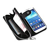 Dreams Mall(TM)New Arrival 2 in 1 Premium PU Leather Wallet Purse Case Protection for Samsung Galaxy S4 with Stand Flip Cover and Strap-Black