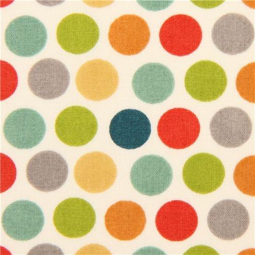 colorful polka dots organic knit fabric birch USA (per 0.5 yard multiple)