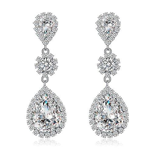 Paxuan Womens Silver/Gold Plated Clear White Champagne Rhinestone Crystal Pierced Wedding Bridal Teardrop Drop Dangle Earrings Jewelry Plum Blossom Earrings Jewelry Hypoallergenic (White) -