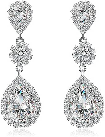 Paxuan Womens Silver / Gold Plated Clear White Champagne Rhinestone Crystal Pierced Wedding Bridal Teardrop Drop Dangle Earrings Jewelry Plum Blossom Earrings Jewelry Hypoallergenic