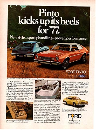 Magazine Print ad: Red 1977 Ford Pinto 3-door Runabout,