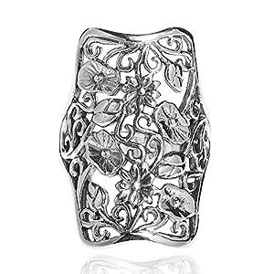 AeraVida Royal Tropical Lotus Garden .925 Sterling Silver Ring