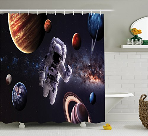 Ambesonne Outer Space Decor Shower Curtain, Astronaut Between Planets Mars Neptune Jupiter Plasma Ethereal Sphere Picture, Fabric Bathroom Decor Set with Hooks, 75 Inches Long, Dark Blue ()