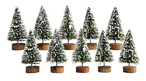 Mini Artificial Winter Tree Christmas Village Figurines - Set of 10 (Village Tabletop Artificial Christmas Tree)