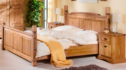 Doppelbett Bett 180 x 200 cm 1486 Mexican Kiefer massiv antik gewachst Neu