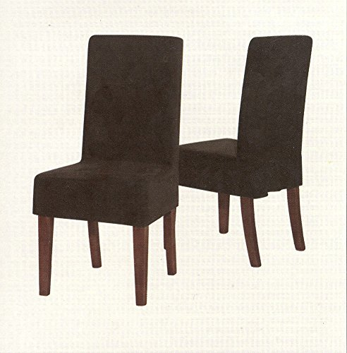 Chezmoi Collection Parker Micro Suede Short Dining Chair Slipcover Cover Protector Black