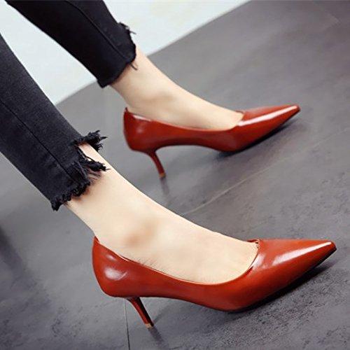 FLYRCX En la primavera de 2018 commuter patente moda femenina sexy tacones con punta fina boca superficial zapatos Zapatos OL singles femeninos c