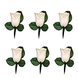 Angel Isabella Set of 6 White Rose Boutonniere with Pin for Prom, Party, Wedding 46