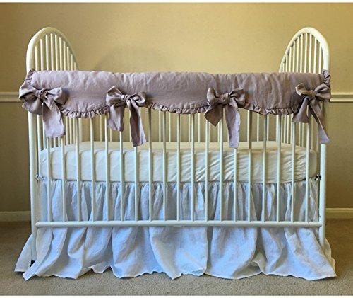 (Orchid Linen Crib Rail Guard - Scalloped with ruffle hem, Crib Rail Cover for Teething, Handmade Bumperless Crib Bedding Set, Baby Bedding Set, FREE SHIPPING)