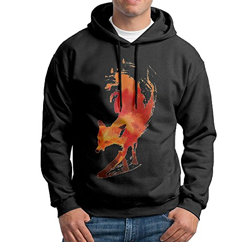 Discount Fashion Men's Athletic Red Fox Print Soft & Cozy Drawstring Hooded Without Pocket Hooded Sweatshirt White for cheap